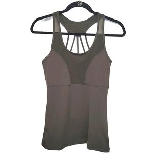 Athleisure fitness tank top military olive green